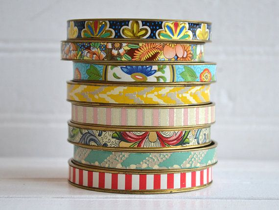 *Tin Bangles always best in multiples!*  Earth Friendly Repurposed Vintage Tin Bangle by NostalgicSummer, $38.00