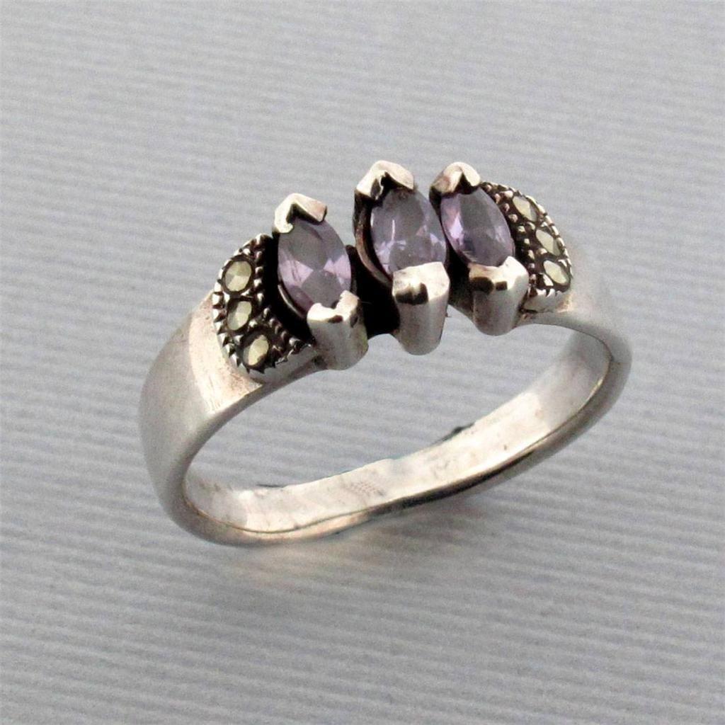 Purple Leopard Boutique - Amethyst Marcasite Sterling Silver Ring Size 7.5, $18.00 (http://www.purpleleopardboutique.com/amethyst-marcasite-sterling-silver-ring-size-7-5/)