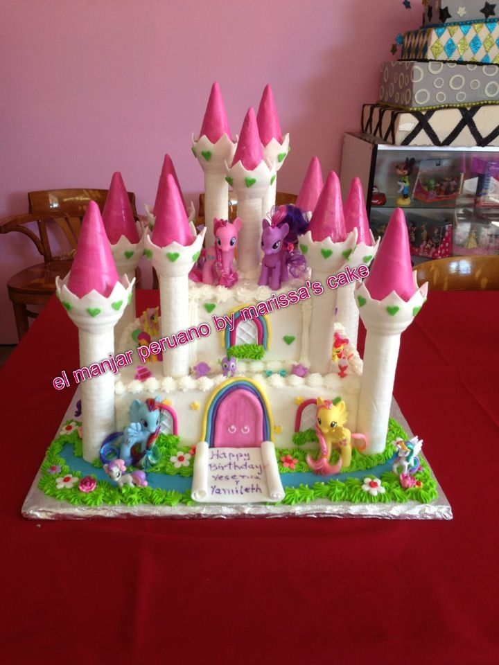 My Little Pony Cake This Is The Easiest For Me To Do Because Publix Has A Castle I Could Order All Id Have Stick Her Ponies On It