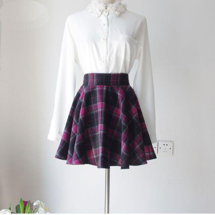 England Style Puff Plus Size A-Line High Waist Zipper Wool Short Mini Plaid Skirt
