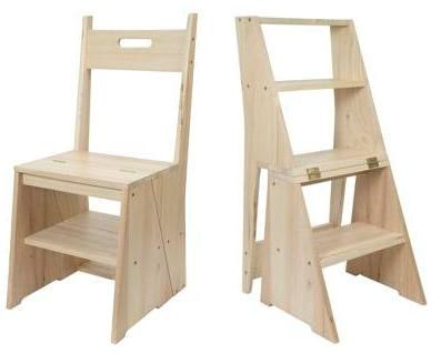 A kitchen chair that quickly transforms into a four step ladder