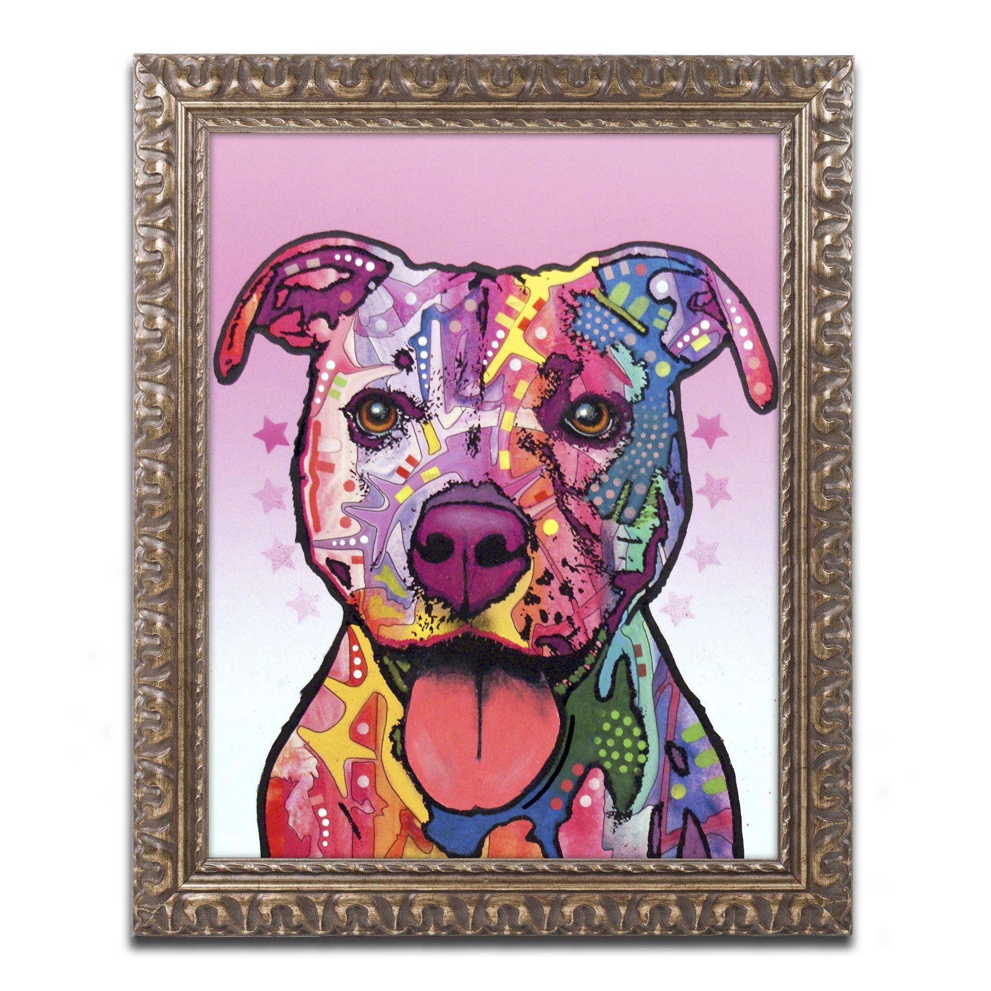Pitbull Wall Art dean russo 'cherish the pitbull' ornate framed arttrademark
