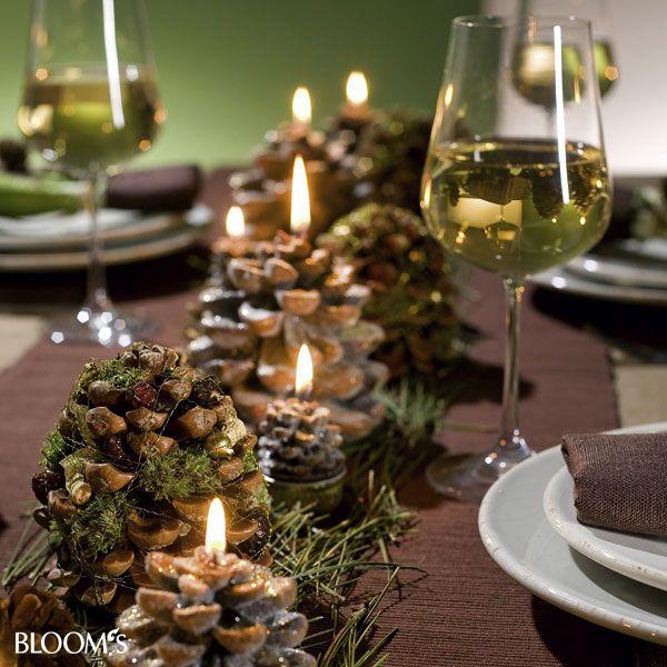 Pinecones moss decoracion pinienzapfen deko for Tischdekoration weihnachten dekoration