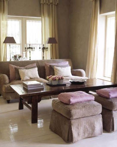 Living rooms gray lavender pink purple velvet sofa for Brown and purple living room ideas