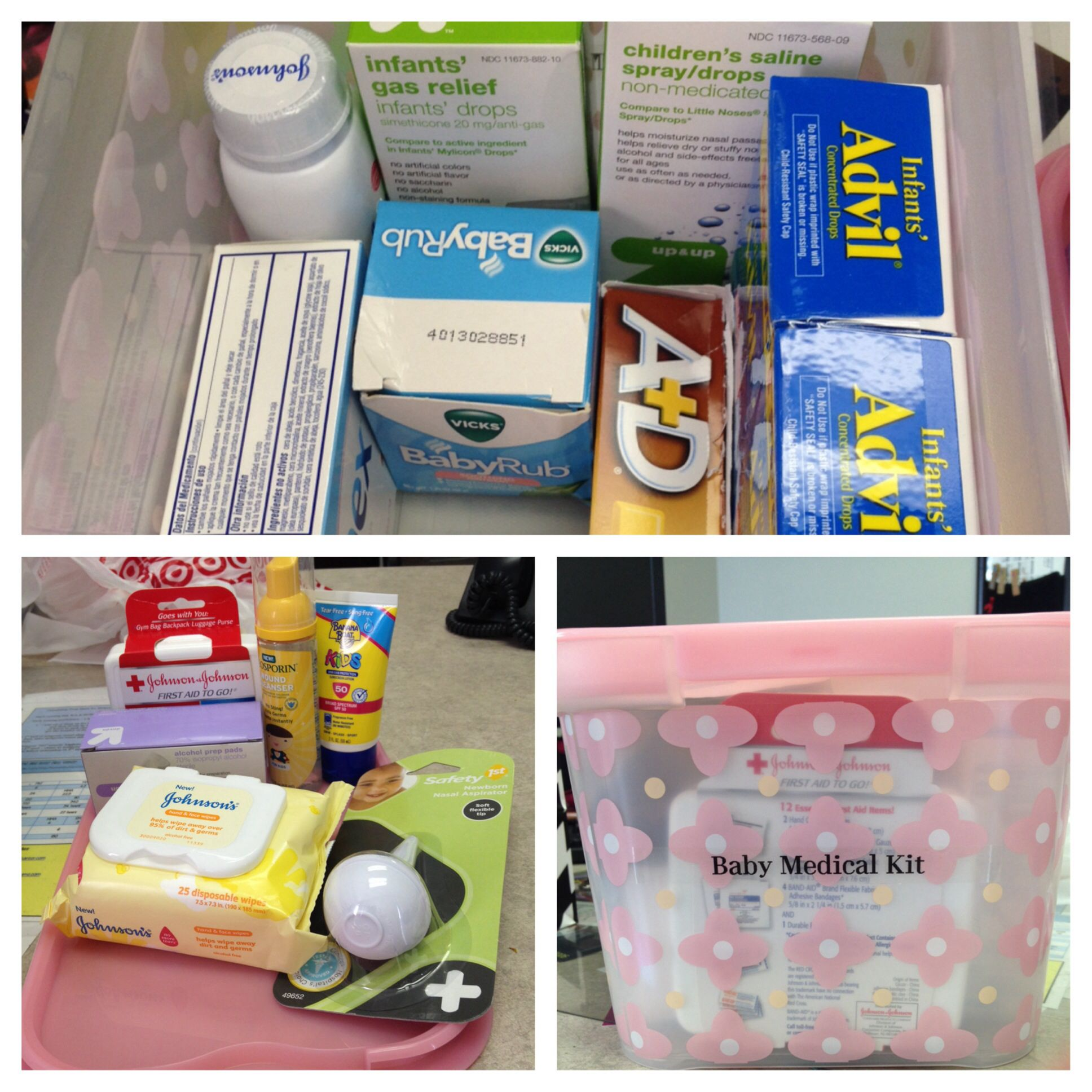 Baby shower t idea baby medical kit Include infant Tylenol