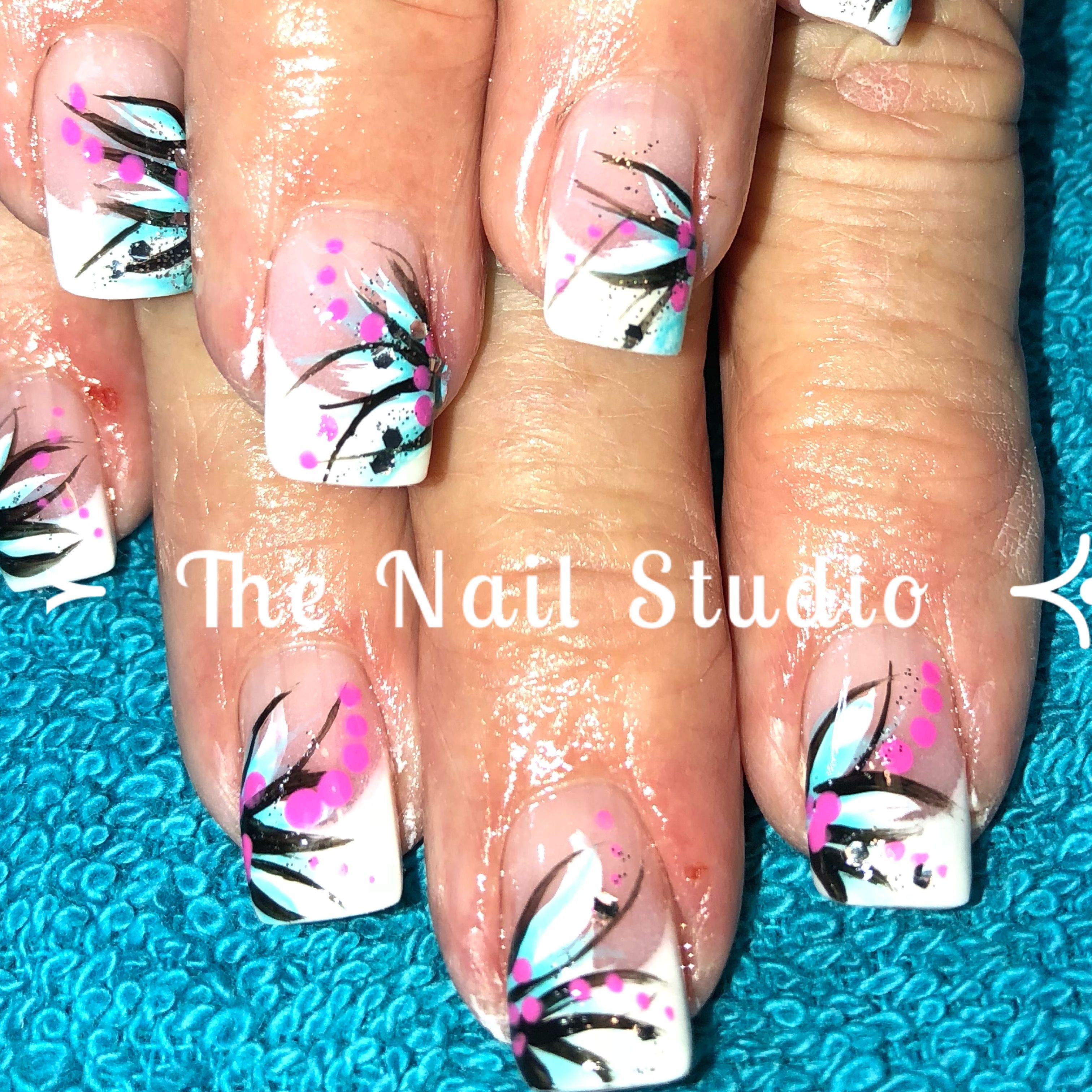 Hand Painted Nail Art On French Tips The Nail Studio In Salem Ar