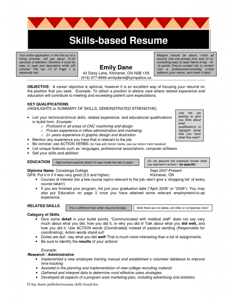 Skills Based Resume Template Skylogic Examples Skill Example Free