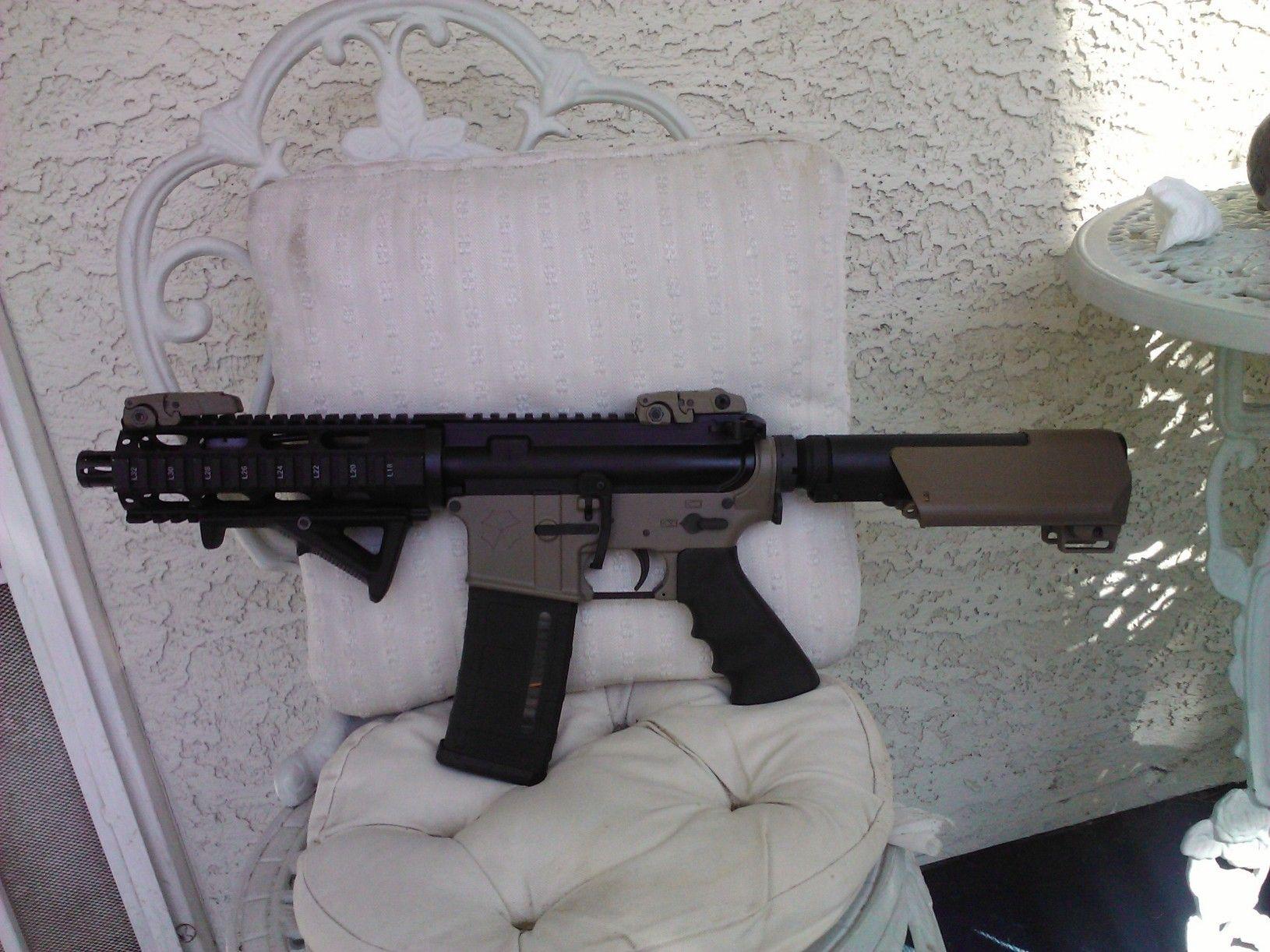 AR15 pistol, Magpul flip up sights, FDE UCWRG lower