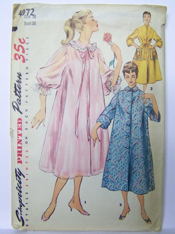 UNUSED Vintage 1950s Simplicity 4972 Duster, NEGLIGEE & Housecoat sz ...