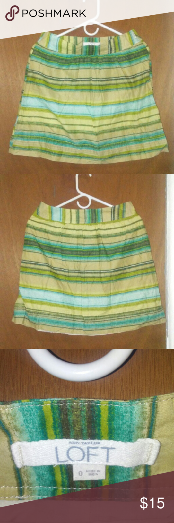 ANN TAYLOR LOFT STRIPED SKIRT ANN TAYLOR LOFT STRIPED SKIRT. GREEN AND BLUE COLORS, BEAUTIFUL. GOOD CONDITION. SIZE 0 Ann Taylor Skirts Circle & Skater