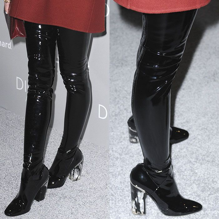 Pregnant Jaime King Dons Kinky Dior Latex Thigh-High Boots at ...