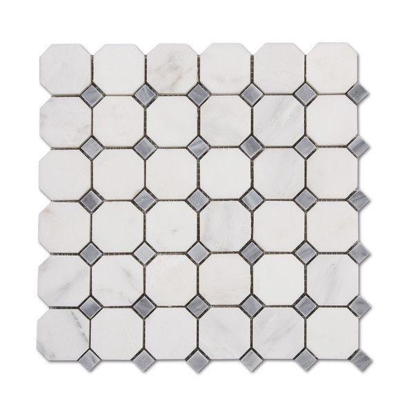 "Sample Carrara White Marble Gray Glass Linear Mosaic: Venato Carrara Polished Marble 2"" Octagon Bardiglio Grey"