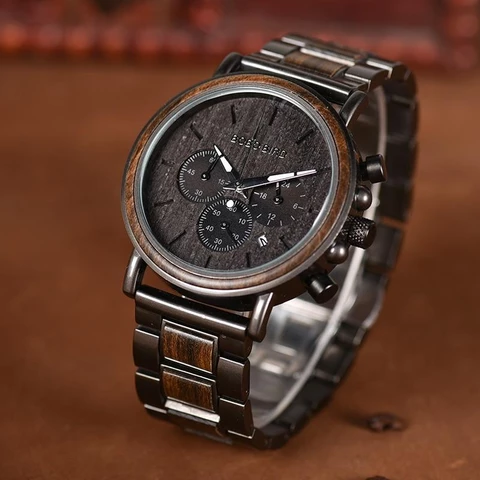 Luxury Wood Stainless Steel Stylish Wooden Timepieces Chronograph Quartz Watches #stainlesssteelrolex