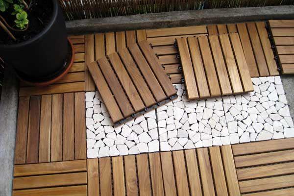 kombination aus holz und natursteinklickfliesen f r die. Black Bedroom Furniture Sets. Home Design Ideas