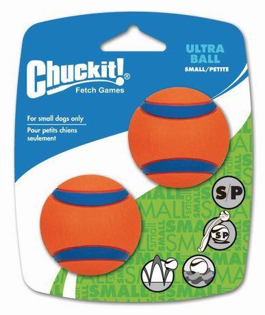 Chuck It Chuckit Ultra Ball 2 Pack Small Dog Toy Orange Small