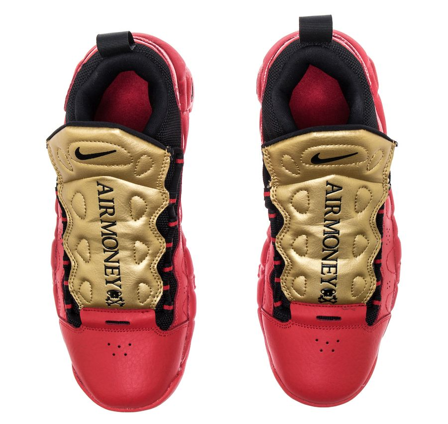 20118239ecb Nike Air More Money University Red Metallic Gold Release Date AH5215 ...