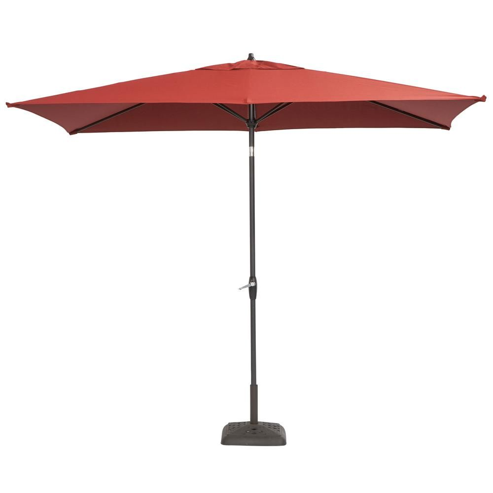 Hampton Bay 10 Ft X 6 Ft Aluminum Patio Umbrella In Chili With Push Button Tilt 9106 01004011 Rectangular Patio Umbrella Patio Umbrella Aluminum Patio