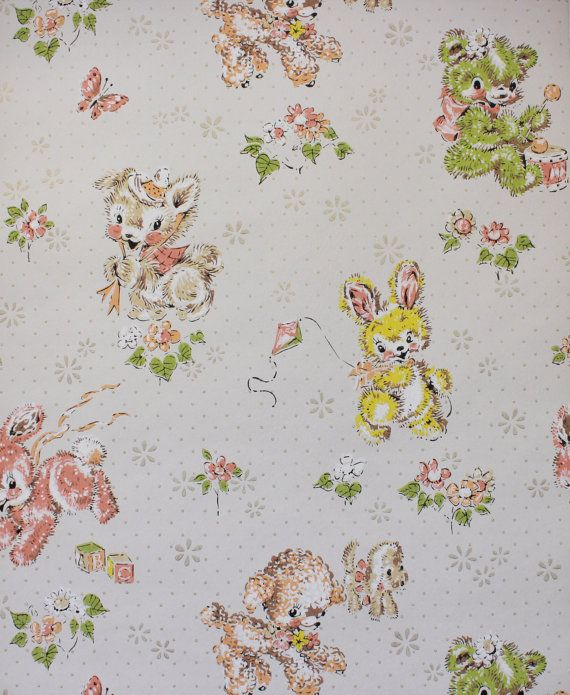 1960 S Vintage Wallpaper Baby Animals Puppies Bunnies Lambs Cubs