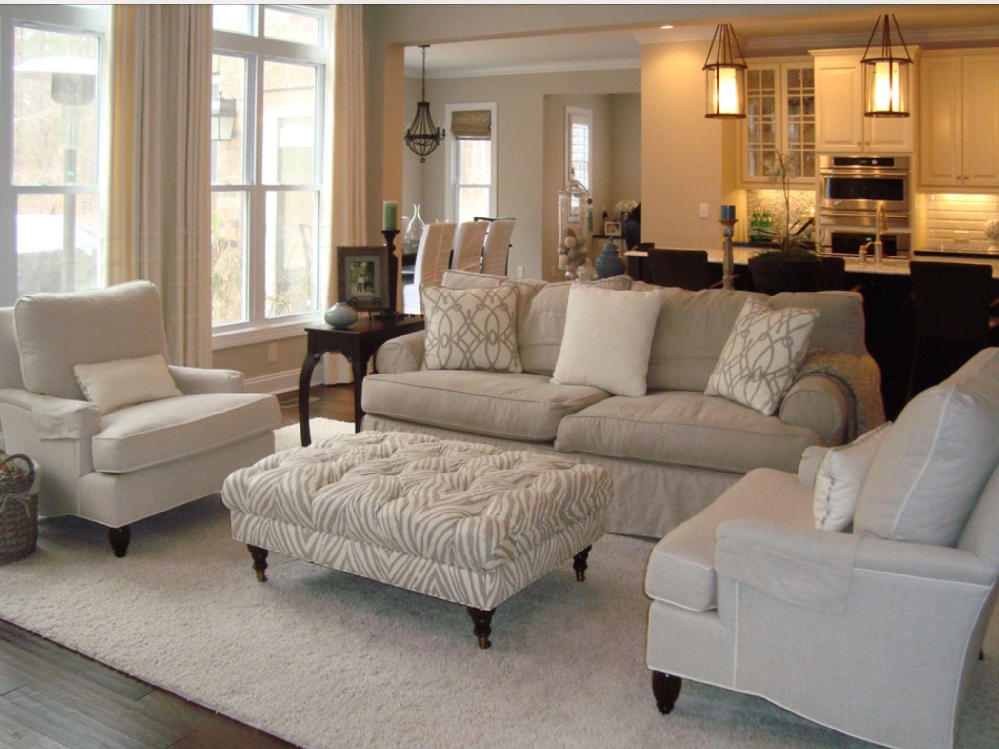 Formal living - tufted ottoman | Decor ideas in 2019 | Cream ...