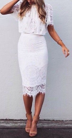 white lace pencil skirt | Style It | Pinterest | White lace and ...