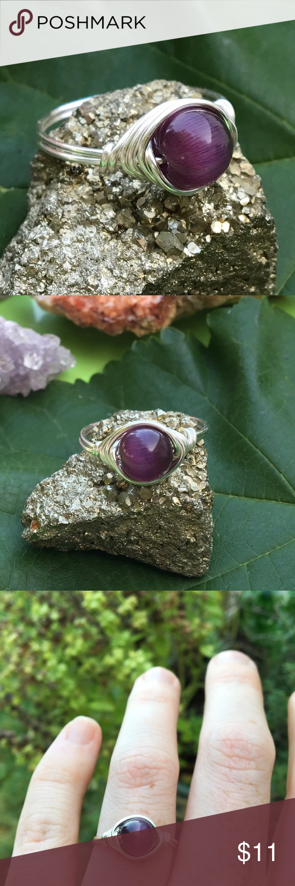 Sterling plated handmade Glass cats eye ring ❣ *Can be made any size *hypoallergenic/non tarnishable sterling silver plated wire *8mm Purple glass cats eye bead *handmade with lots of love ❤️ #ring #rings #jewelry #hippie #bohemian #handmade #wirewrap #gift #catseye #glassring #customjewelry handmade Jewelry Rings