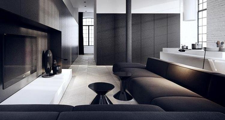 moderne-innenarchitektur-minimalistisch-loft-backsteinwand-schwarz