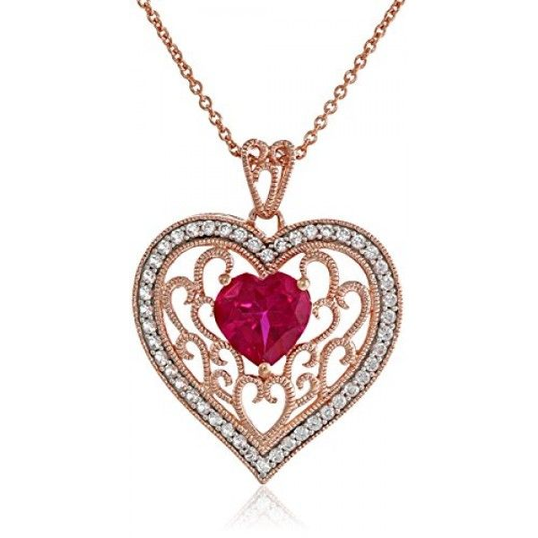 14k rose gold over sterling silver created ruby with created white 14k rose gold over sterling silver created ruby with created white sapphire filigree heart pendant necklace aloadofball Gallery