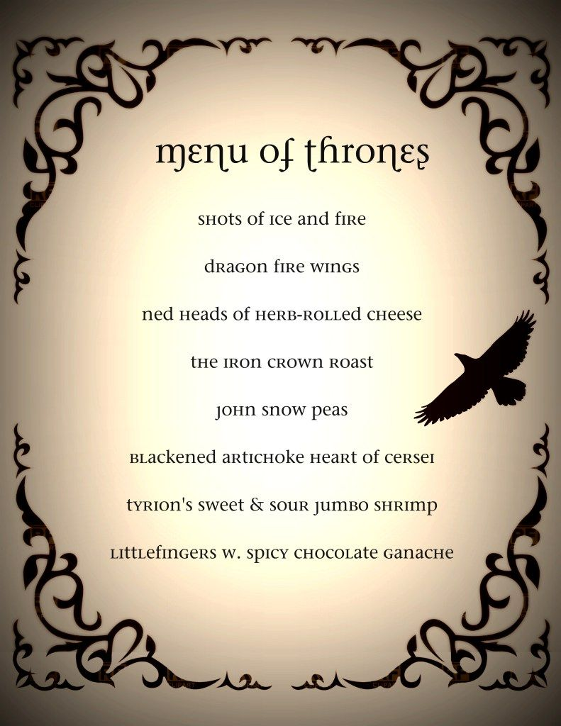 Dinner Party Activities Ideas Part - 33: Game Of Thrones Dinner Party Menu Gab Solórzano Gab Solórzano Giampaolo  Giampaolo Franco We Should. Blackened Artichoke Hearts Of Cersei!