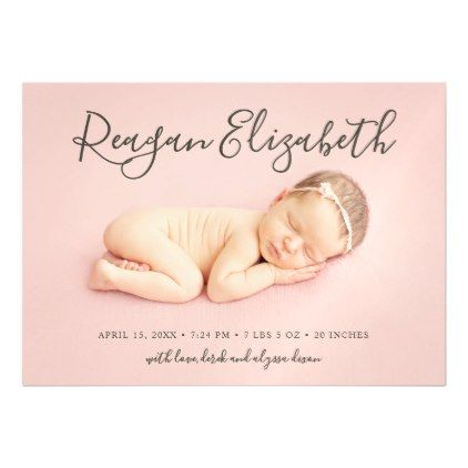 lovely script photo overlay birth announcement calligraphy gifts custom personalize diy create your own