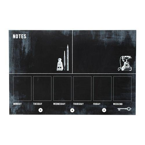 IKEA - MÅLARNA, Liitutaulu, Alareunassa nupit avaimien ja muiden pikkutavaroiden ripustamista varten.