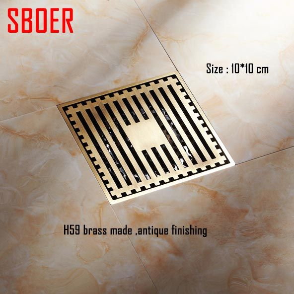 Hot 10 10 Cm 4 Inch Vintage Artistic Brass Bathroom Wetroom Square Shower Anti Odor Floor Drains Trap Waste Grate Ha Floor Drains Antique Flooring Shower Floor