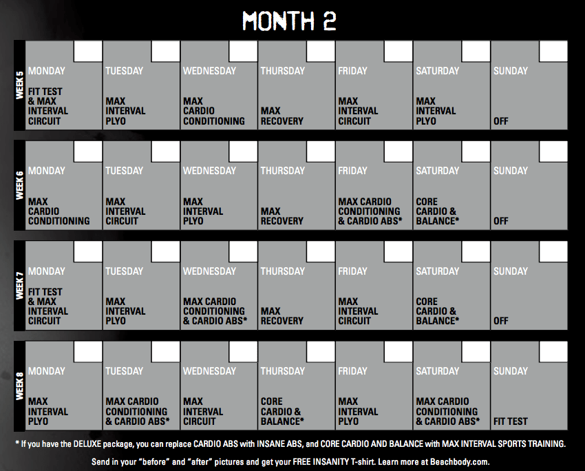 Insanity Calendar - 60 Day Insanity Workout Schedule ...