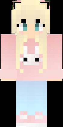 Pink Haired Girl Mincraft Skin With A Panda Hoodie Desenhos Minecraft Skins Para Minecraft Minecraft
