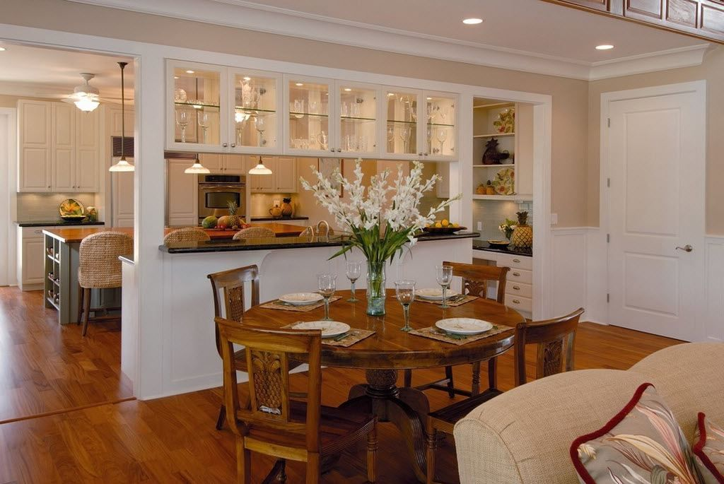 Living Room Kitchen Open Floor Plan Two White Gold Standing Lamps