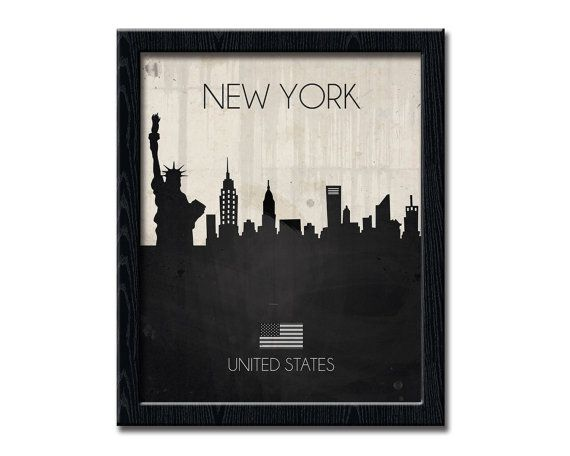NEW YORK Print, United States Wall Art Contemporary Print, Urban City Skyline, Cityscape New York Poster, Wall Decor Statue of Liberty WP195