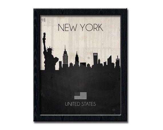 NEW YORK Print, United States Wall Art Contemporary Print, Urban City Skyline, Cityscape New York Poster, Wall Decor Statue of Liberty WP195