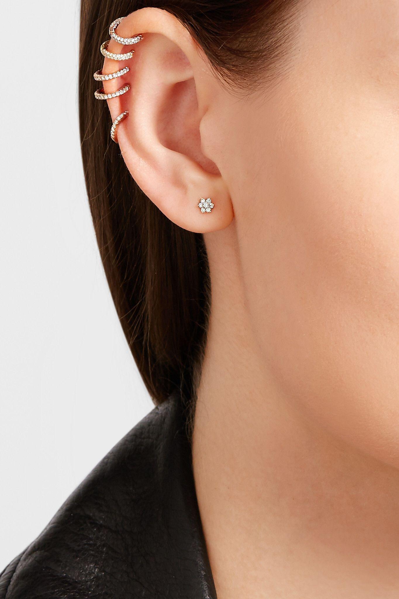 925 Sterling Silver 5 Row Half Eternity Hoop Stud Post Earrings