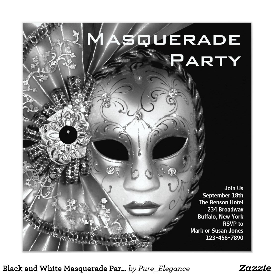 Black and White Masquerade Party Invitation | Masquerade party ...