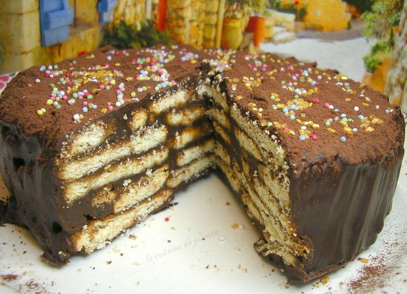 gâteau au petit beurre au chocolat | Petit beurre, Gateau ...