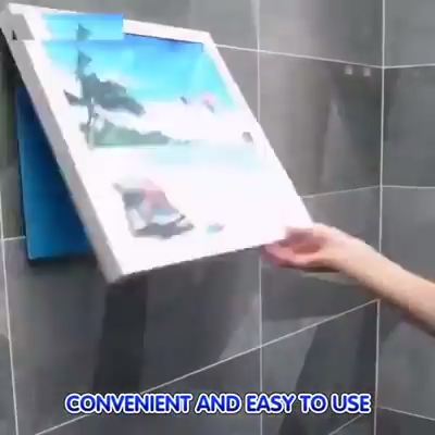 Bathroom Shelves Holder Clothes Rack Wallpaper Shower Shelf Rack Organizer Foldable Mural Clothes Storage Adhesive Cabinet