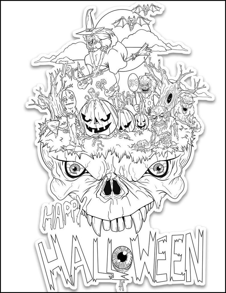 Creepy Coloring Relax Color Page Animal Color Sheet Monster Etsy Halloween Coloring Sheets Free Halloween Coloring Pages Cool Coloring Pages