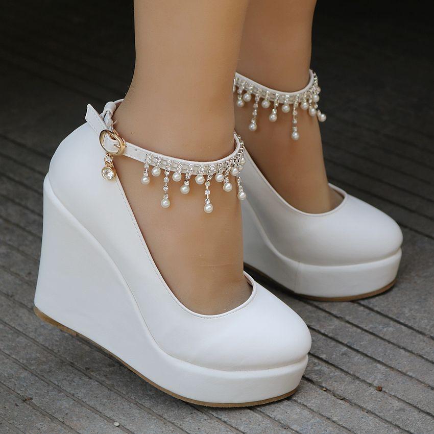 white wedges pumps high heels platform wedges shoes tassel wedges heels from Eoooh❣❣