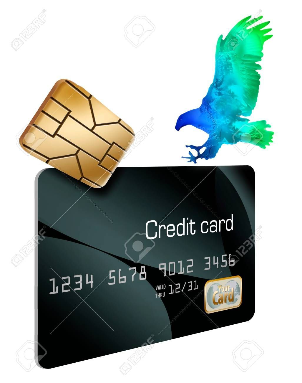 credit card illustration The EMV security chip on credit cards and a hologram eagle landing on the card are seen in this illustration about credit card security