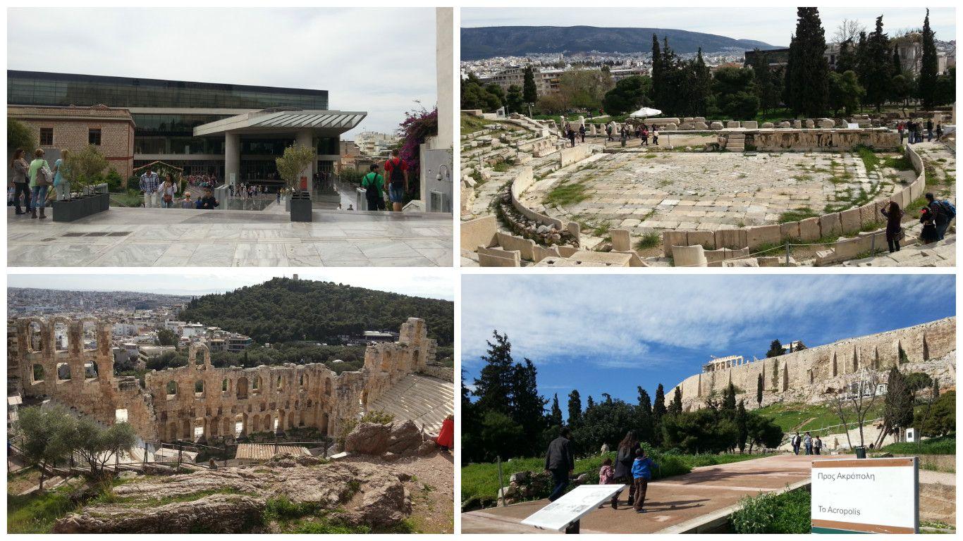 Museu da Acrópole - Teatro Dionisio - Teatro Herodes e Acrópole. Roteiro turistico de 1 dia em Atenas