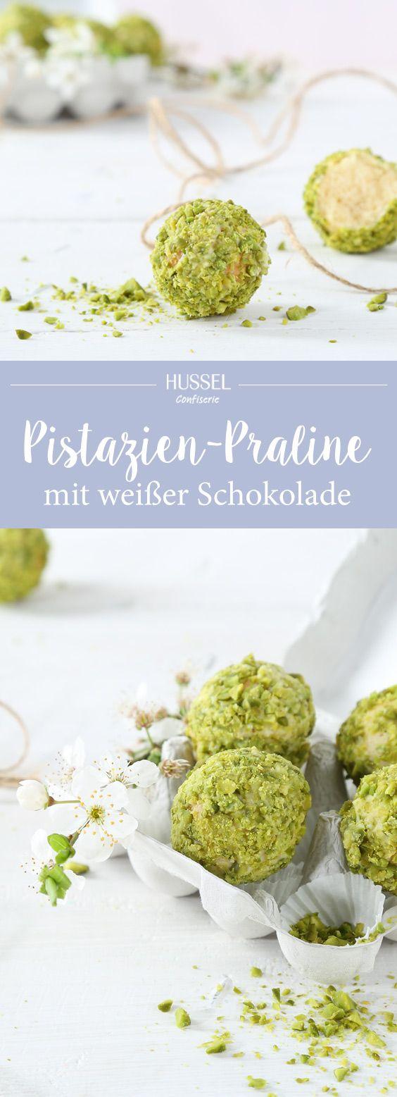 Pralinen mit weißer Schokolade und Pistazien - Hussel Confiserie