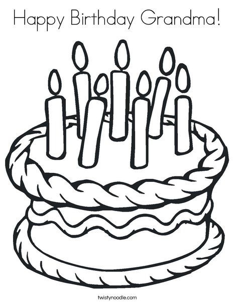 Happy Birthday Grandma Coloring Page - D\'Nealian - Twisty Noodle ...