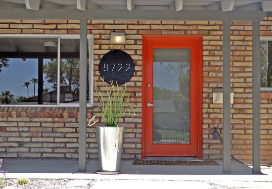 Mid Mod Design Custom Made Address Plaque Frosted Glass French Front Door In This Mid Modern