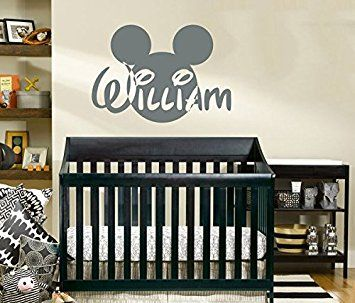 Name Wall Decal Mickey Mouse Head Ears Disney Vinyl Decals Sticker - Custom vinyl wall decals disney