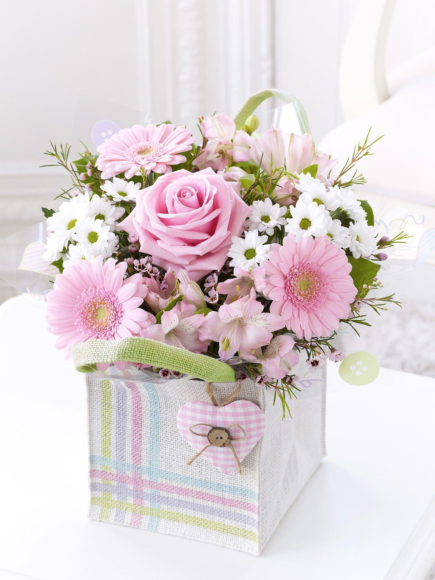 Baby girl gift bag arranged flowers pinterest flowers baby girl gift bag negle Choice Image