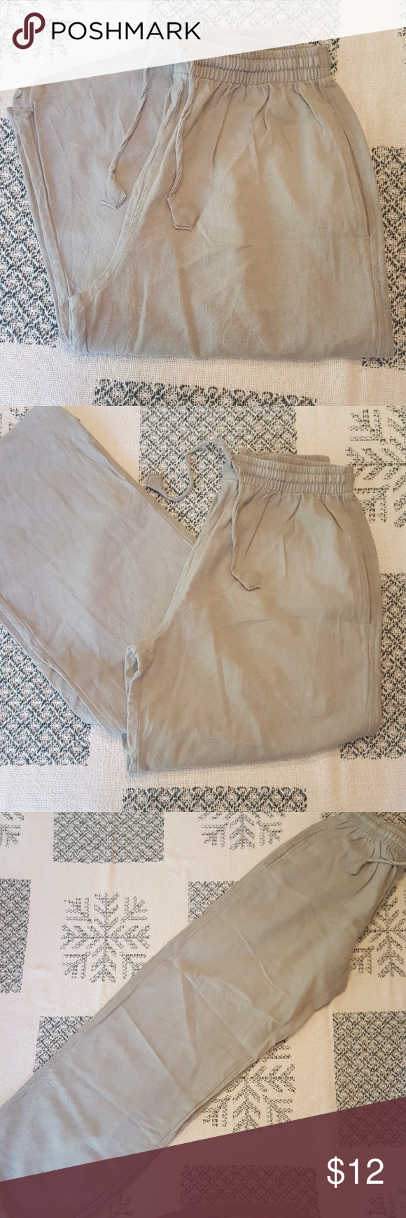 e36e4d9da7 Men's linen cotton yoga pants Yak n Yeti linen elastic and drawstring yoga  pants. Sage green. Pants Sweatpants & Joggers